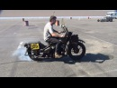 1942 WLA 45 Harley 100 Burnout antique nationals 2014 drag race winner STCA by tatro machine