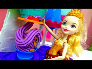 Мороженое 🍨 из #ПлейДо для Эшлин Эллы и Эппл Вайт 🍦 Куклы Эвер Афтер Хай / Видео ...