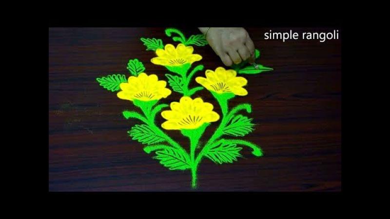 Very simple rangoli designs using bangles, Creative kolam designs, Flower muggulu designs