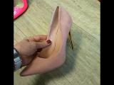 Розовый замш.. золотой каблук
