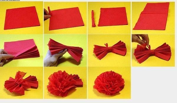 Как из салфетки сделать цветок быстро