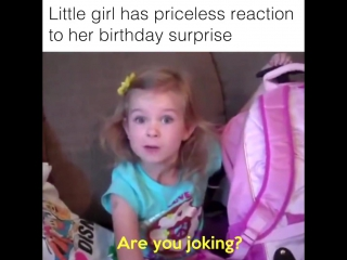 Cute Little Girl Cries from Happiness on her birthday