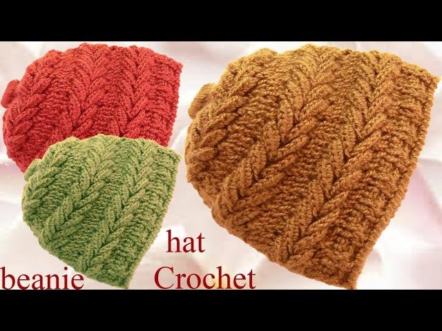 Gorro a Crochet en punto espigas horizontales en relieve tejido tallermanualperu