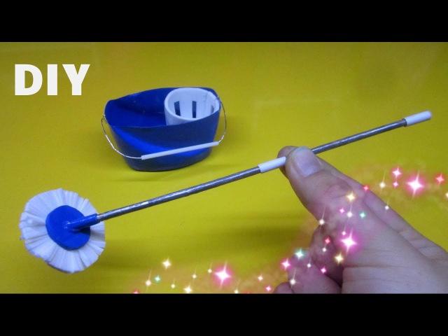 DIY How to make a miniature Mop and Bucket Làm đồ cho búp bê cây lau nhà và cái xô Ami DIY