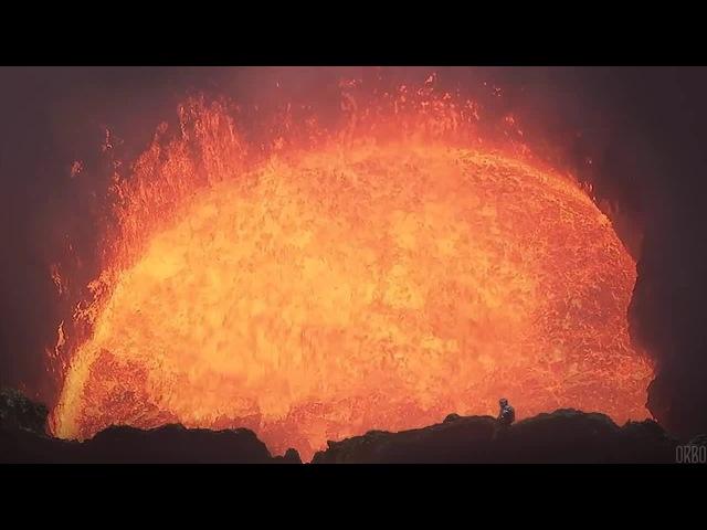 On the edge of Marum Volcano's lava lake