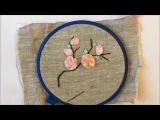 Сакура вышитая лентами  Sakura embroidered ribbons