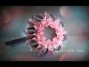 Flower Kanzashi Master Class hand made DIY, Канзаши МК, Зефирка