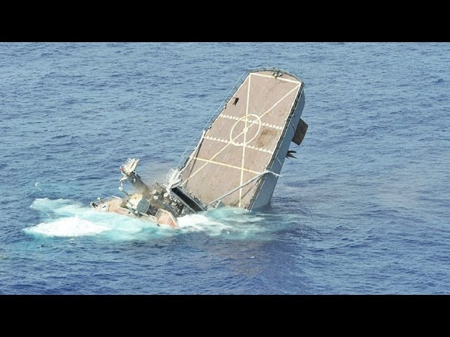 Sinking a US Navy Warship Hits by Missiles Torpedoes Exercise RIMPAC Compilation