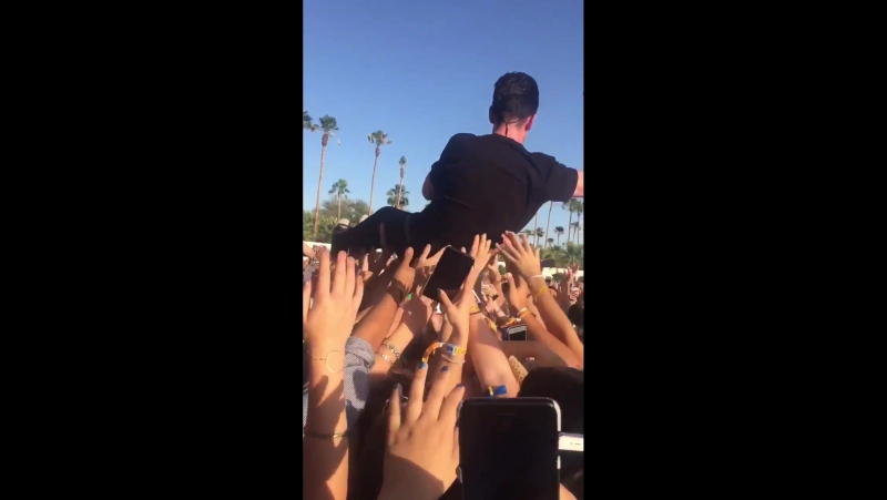 Dan crowdsurfing at Coachella 2017