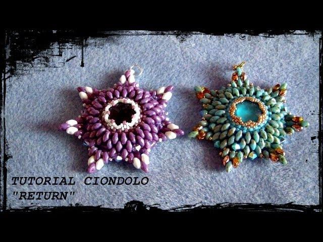 Tutorial Perline: Ciondolo RETURN realizzato con delica, rocaille, swarovski e superduo