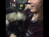 Chandler Riggs with pet monkey in Charlotte. Walker Stalker Con.