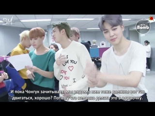 [RUS SUB][BANGTAN BOMB] BTS checking out the interview script after camera rehearsal @ Ingigayo