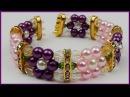 DIY | Blumenarmband aus Perlen basteln | Flower memory wire beaded bracelet with pearls
