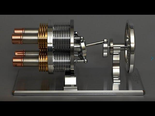 4 цилиндровый двигатель Стирлинга с автоматом перекоса