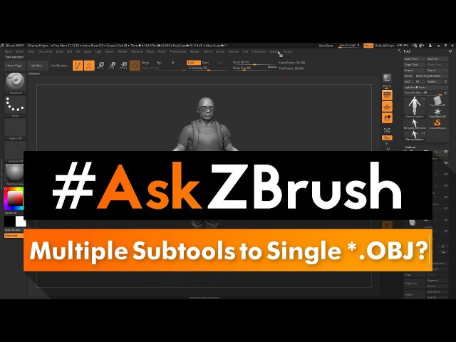 "AskZBrush: ""How can I export multiple Subtools to a single *.OBJ file?"""