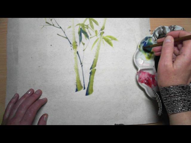 Как рисовать бамбук в стиле китайской живописи СЕ-И. Дзен-живопись.