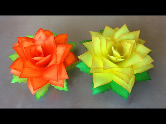 Rosen Basteln mit Papier 🌹 DIY Blumen basteln mit Kindern. Origami Rose