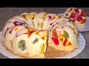 Торт Битое стекло. Торт из желе и сметаны. Торт битое стекло с бисквитом и фруктами.