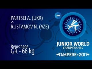 Repechage GR - 66 kg: N. RUSTAMOV (AZE) df. A. PARTSEI (UKR) by VSU, 9-0