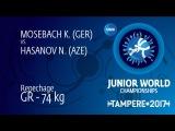 Repechage GR - 74 kg: N. HASANOV (AZE) df. K. MOSEBACH (GER) by VPO1, 13-9