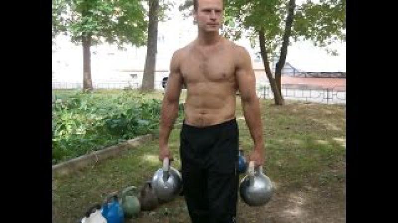 Подъем гирь весом 72 кг одной рукой.на 2 повтора.Lifting 2 gira (kettlebells) 72 kg(5616).one hand.