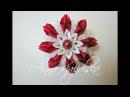 Резиночка з цікавих пелюсток канзаши. Резинка из необычных лепестков. Elastic band of unusual petals