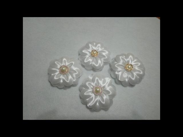 Школьный цветок канзаши из атласной ленты. Школьный бант. МК/DIY.