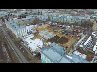 Строительство жилого дома «Возрождение». Заливка фундамента.