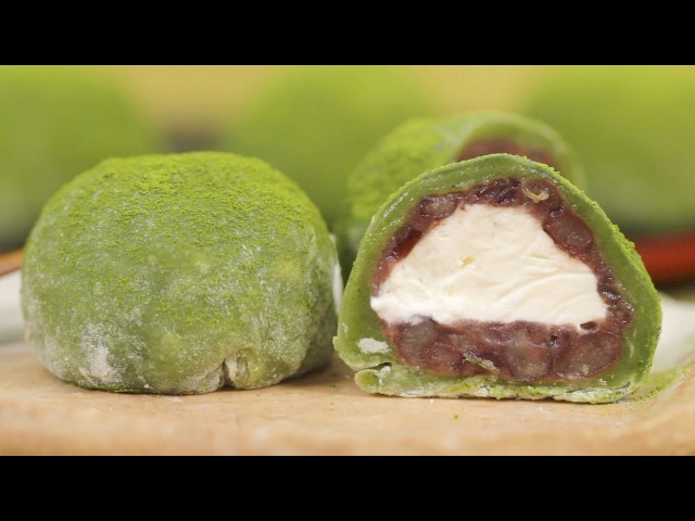 Matcha Cream Daifuku (Green Tea Mochi Dessert Recipe)   Cooking with Dog