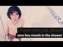Wet emo boy in the shower