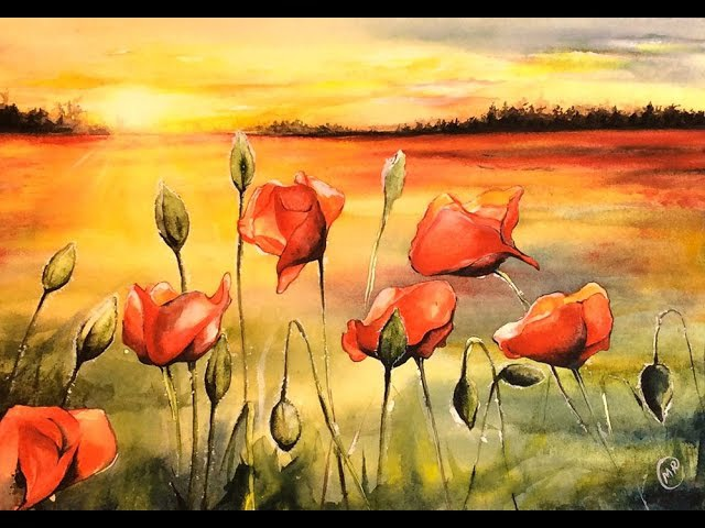 Watercolor Field of Poppies Painting Demonstration