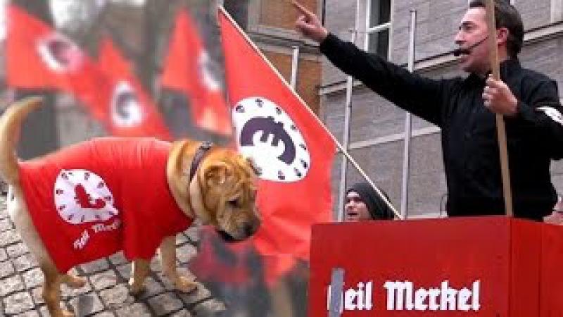 HEIL MERKEL - Flaggenmeer vs Linke Denunzianten - Sven Liebich Satire Demo 22.3.17