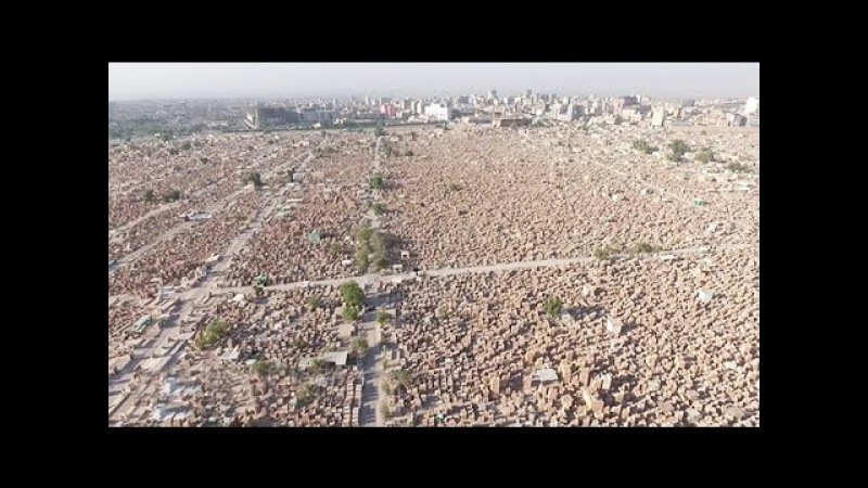 Stunning drone images of worlds biggest cemetery, Iraq
