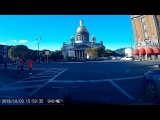 Driving Saint Petersburg, Russia - through Nevsky Prospekt to St. Isaac's Cathedral