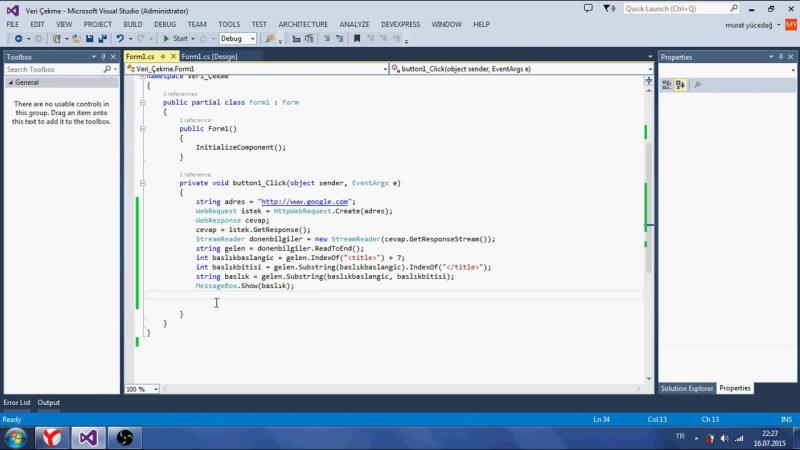 C Ders 87 Web Sitesinden Veri Çekme - HtmlAgilityPack Komutu