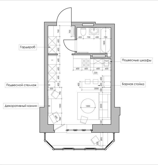Проект квартиры 28 м с восточными мотивами.