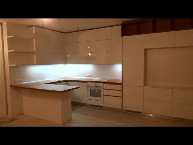 Кухня с фурнитурой Blum Часть 2 Установка кухни антиручка встроенній холодильник