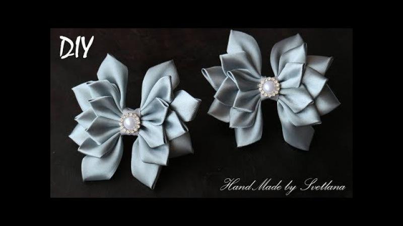 Резинки с бантиками из лент КАНЗАШИ DIY Bows made of ribbon Kanzashi Laço de Cetim Curva da fita 7