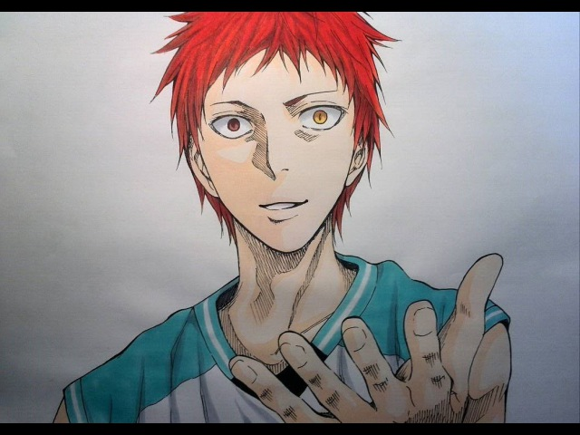【黒子のバスケ】赤司征十郎をアナログで描いてみた Drawing Seijūrō Akashi from Kuroko's Bask