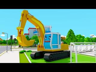 Мультфильмы для детей Экскаватор и Машинки Играют в Футбол в Городке 3D Видео для...