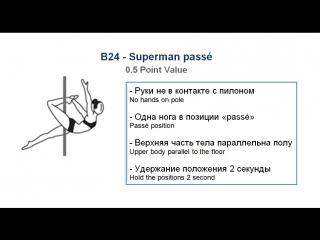 В24 - SUPERMAN PASSÉ - (0.5) - CODE OF POINTS (POSA-Pole Sports & World Arts Federation)
