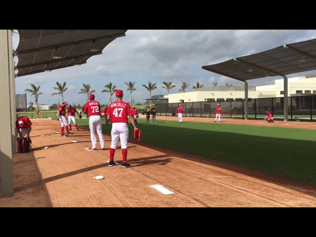 Gio Gonzalez, Enny Romero, Tanner Roark and Stephen Strasburg throw off mounds