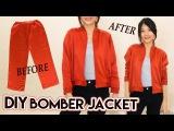 DIY Turn Old Pants Into Bomber Jacket Satin Raglan Jacket Clothes Transformation