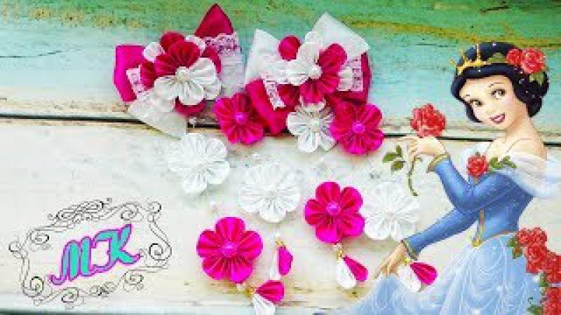 Резинки канзаши с подвесками. Цветы канзаши. Kanzashi