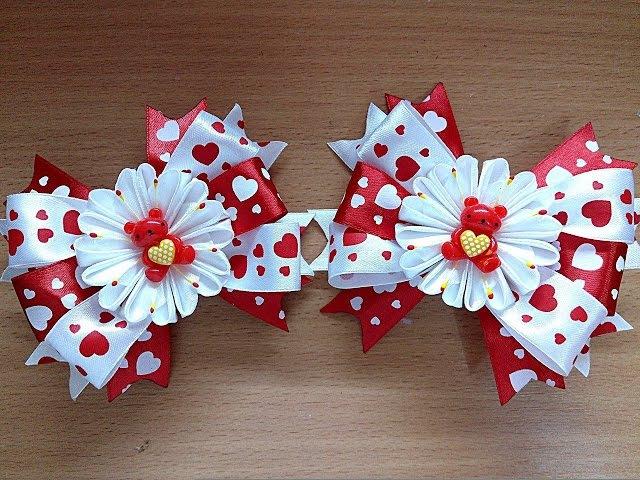 DIY банты заколки из лент канзаши / hair clips ribbon kanzashi