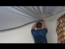 Монтаж натяжного потолка с нишей под карниз