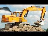 Cartoon for children - Excavator Diggers Trucks with Giant Crane - Construction Vehicles Kids Video