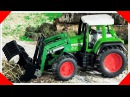 Traktor Pracowity Traktorek z Przyczepą w Miasto Ciężarówek i Samochodów Bajki dla dzieci