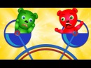 Mega Gummy Bear CRAZY ATTRACTIONS Finger Family Rhymes for kids | Gummibear toys