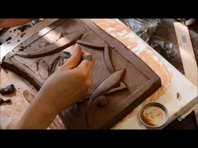 Изготовление отливки из гипса для рельефной плитки Castings of plaster for relief tiles
